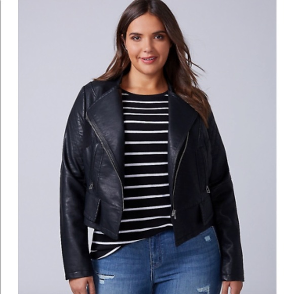 df4492572e8 Seamed Faux Leather Moto Jacket by Lane Bryant